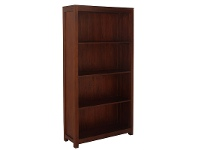 LivingStyles Amsterdam Solid Mahogany Timber Wide Bookcase, Mahogany