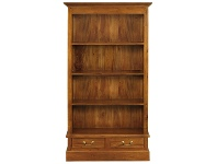 Tasmania Mahogany Timber Wide Bookcase with Drawers, Light Pecan