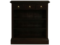 LivingStyles Adolf Mahogany Timber 3 Drawer Low Bookcase, Chocolate