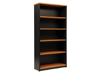 LivingStyles Logan 5 Shelf Bookcase, Beech / Black