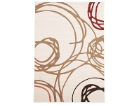LivingStyles Scribble Circles Belgian Made Modern Rug, 330x240cm, Cream