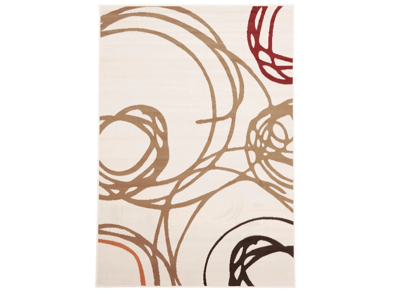 Scribble Circles Belgian Made Modern Rug, 330x240cm, Cream