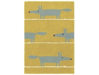 LivingStyles Scion Mr Fox Hand Tufted Designer Wool Rug, 180x120cm, Mustard