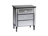 LivingStyles Fairfax Mirrored 3 Drawer Bedside Table, Black Highlight