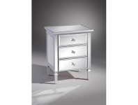 Fairfax Mirrored 3 Drawer Bedside Table, Silver Highlight