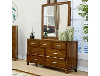 Holmwood Solid Ash Timber 7 Drawer Dressing Table with Mirror