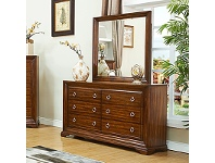 LivingStyles Norwood Solid American Poplar Timber 6 Drawer Dressing Table with Mirror