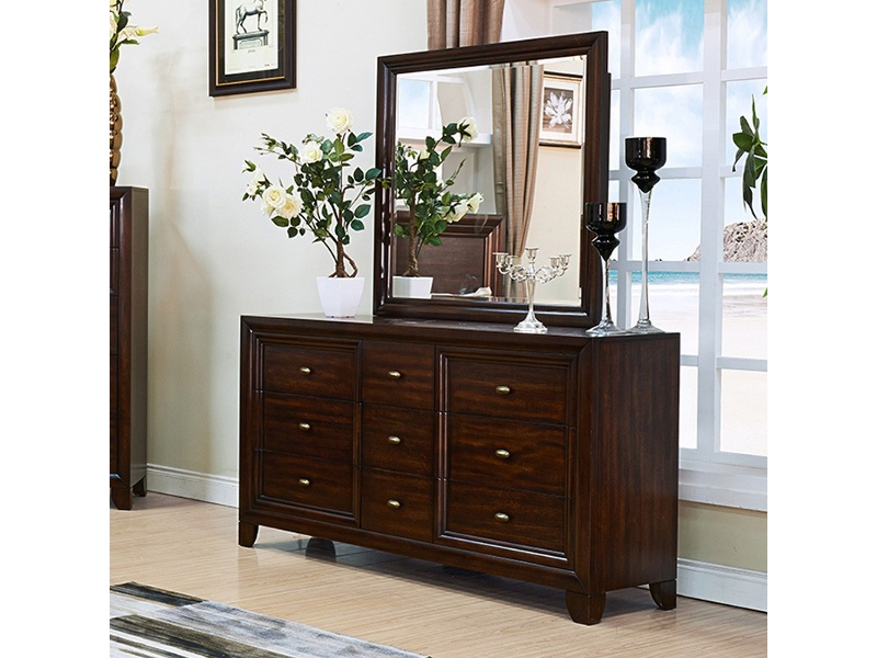 Merewood Solid American Poplar Timber 9 Drawer Dressing Table with Mirror