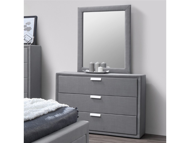 Marietta Fabric Upholstered Dressing Table with Mirror