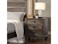 LivingStyles California Solid Timber Bedside Table, Pewter