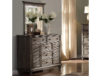 LivingStyles California Solid Timber 2 Door 5 Drawer Dresser with Mirror, Pewter