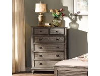 LivingStyles California Solid Timber 6 Drawer Tallboy, Pewter