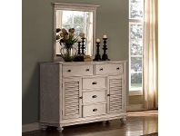 LivingStyles California Solid Timber 2 Door 5 Drawer Dresser with Mirror, White