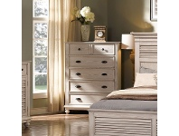 LivingStyles California Solid Timber 6 Drawer Tallboy, White