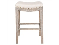 LivingStyles Boston Hand Crafted Solid Oak Timber Counter Stool with Cotton Seat, Cream