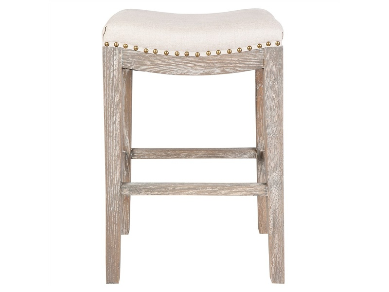 Boston Hand Crafted Solid Oak Timber Counter Stool with Cotton Seat, Cream