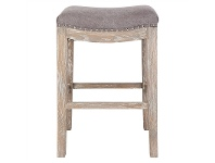 LivingStyles Boston Hand Crafted Solid Oak Timber Counter Stool with Cotton Seat, Grey