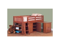 LivingStyles Colt Solid Pine Timber Single Cabin Bunk Bed Teak Stain