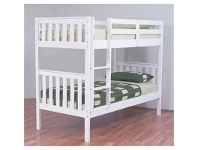 LivingStyles Jester Wooden King Single Bunk Bed without Trundle - Arctic White