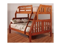 LivingStyles Troy Solid Pine Timber Trio Bunk Bed - Teak Stain