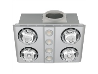 LivingStyles Magnus Quattro Bathroom Heater with Exhaust and Light, Silver