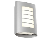 LivingStyles Bicheno IP44 Metal Exterior LED Wall Light, Silver