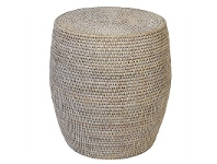 LivingStyles Savannah Rattan Drum Side Table, White Wash