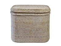 LivingStyles Savannah Rattan Square Storage Side Table, White Wash