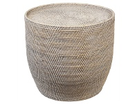 LivingStyles Savannah Rattan Round Side Table, White Wash