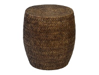LivingStyles Savannah Rattan Drum Side Table, Tobacco