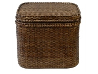 LivingStyles Savannah Rattan Square Storage Side Table, Tobacco