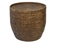 LivingStyles Savannah Rattan Round Side Table, Tobacco
