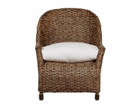 LivingStyles Savannah Rattan Lounge Armchair with Feather Cushion, Tobacco