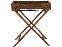 LivingStyles Savannah Rattan Butlers Tray Table, Tobacco