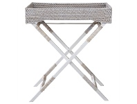 LivingStyles Savannah Rattan Butlers Tray Table, White Wash