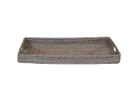 LivingStyles Savannah Rattan Tray, Rectangle, Medium, White Wash