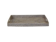 LivingStyles Savannah Rattan Tray, Rectangle, Small, White Wash