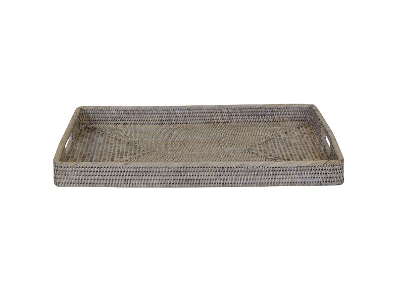 Savannah Rattan Tray, Rectangle, Small, White Wash