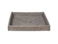 LivingStyles Savannah Rattan Tray, Square, Large, White Wash
