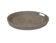 LivingStyles Savannah Rattan Tray, Round, Large, White Wash