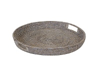 LivingStyles Savannah Rattan Tray, Round, Small, White Wash