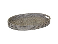 LivingStyles Savannah Rattan Tray, Oval, Small, White Wash
