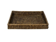LivingStyles Savannah Rattan Tray, Square, Large, Tobacco
