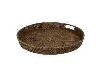 LivingStyles Savannah Rattan Tray, Round, Large, Tobacco