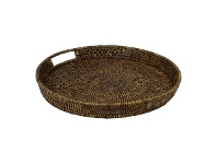 LivingStyles Savannah Rattan Tray, Round, Small, Tobacco