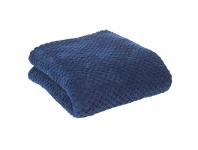 Diamond Fleece Single Size Blanket - Indigo