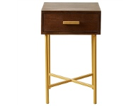 LivingStyles Carus Solid Mango Wood Timber and Iron 1 Drawer Side Table