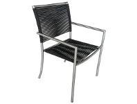 LivingStyles Bunji Stainless Steel Stackable Indoor/Outdoor Dining Armchair, Black