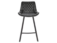 LivingStyles Bordeaux Commercial Grade Faux Leather Counter Stool, Black