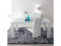 LivingStyles Bennett High Gloss 180cm Dining Table with Glass Top (Table Only)